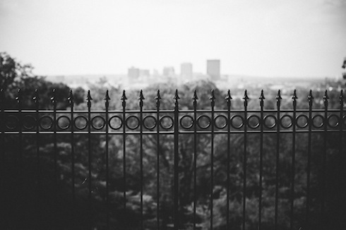 Security fence in front of Dayton, photo by Adam Dressler