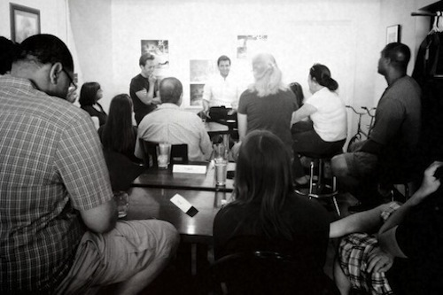 The Minimalists Speaking at Press Coffee in Dayton, Ohio; Photo by Shawn Harding